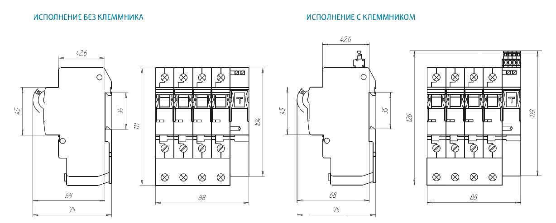 Габаритные и установочные размеры ВА25-29 4ДР
