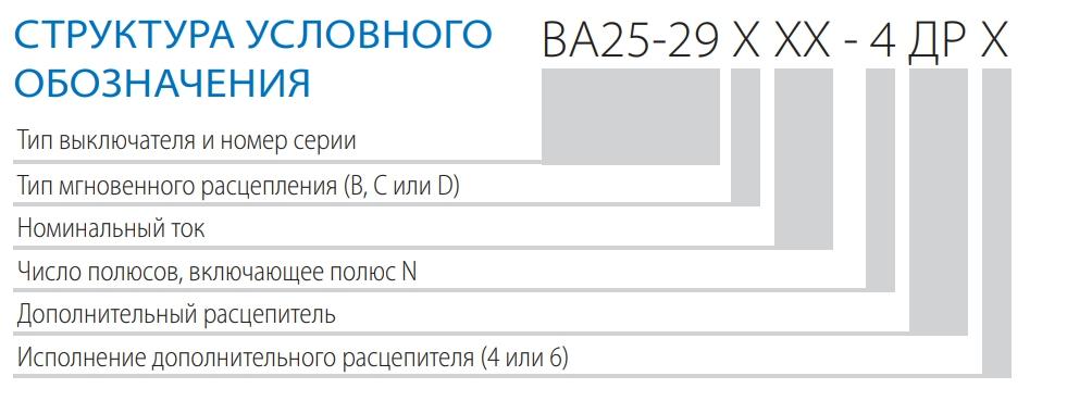 Структура условного обозначения ВА 25-29 ДР 4ДР