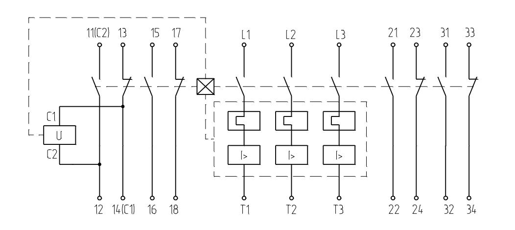 Выключатель с максимальными расцепителями тока, двумя блоками свободных контактов и независимым расцепителем