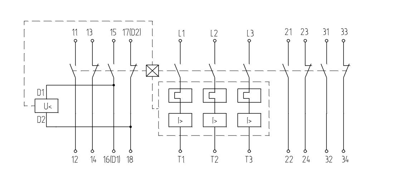 Выключатель с максимальными расцепителями тока, двумя блоками свободных контактов и минимальным расцепителем напряжения