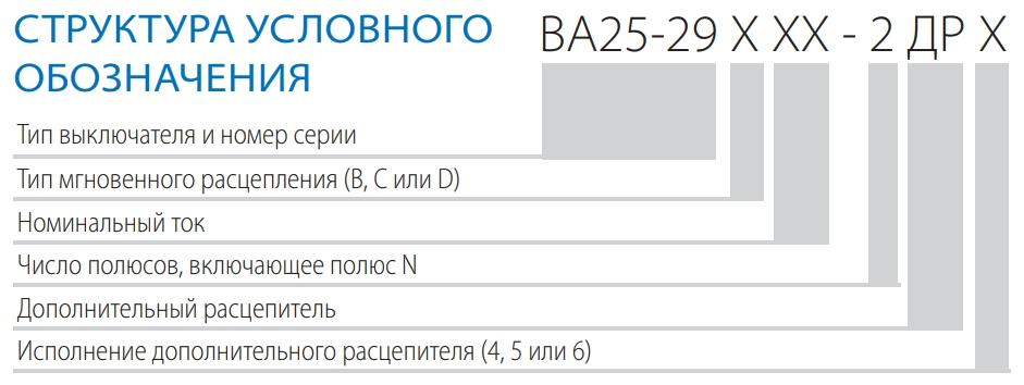 Структура условного обозначения ВА 25-29 ДР 2ДР