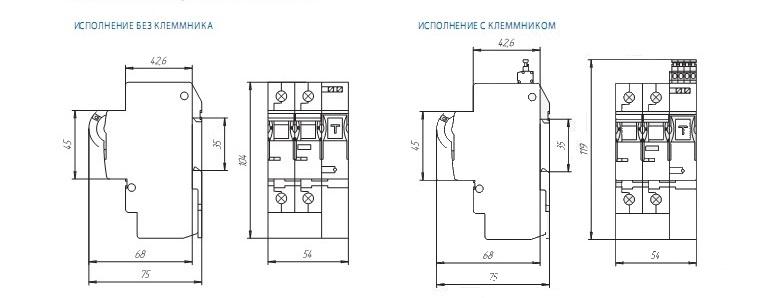 Габаритные и установочные размеры ВА25-29 2ДР