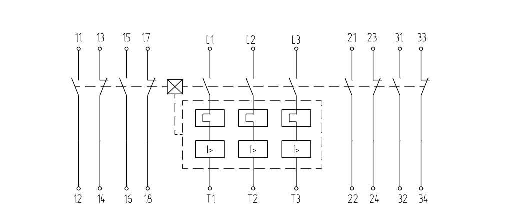 Выключатель с максимальными расцепителями тока и двумя блоками свободных контактов