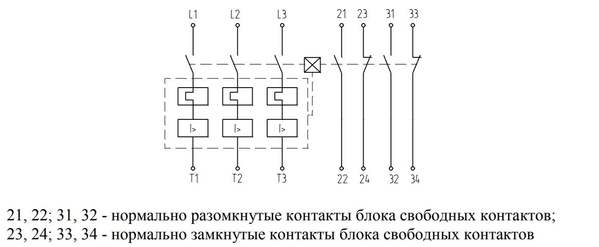 Выключатель с максимальными расцепителями тока и одним блоком свободных контактов, установленным с правой стороны (положение выключателя - рабочее)